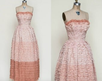 1950s Lace Dress --- Vintage Strapless Prom Dress