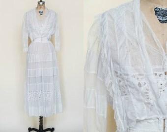 Edwardian Wedding Dress --- Antique White Lawn Dress