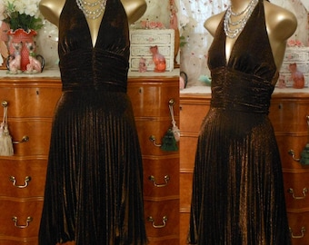 Vintage 80s Dress, 1980s Metallic Bronze Lurex Accordion Pleats Halter Cocktail Dress by Cache, Marilyn Monroe, Size 4, Small