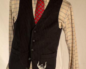 Men's Vest/Waistcoat / 38 Vintage Vest / Size 44 Large  // #4006