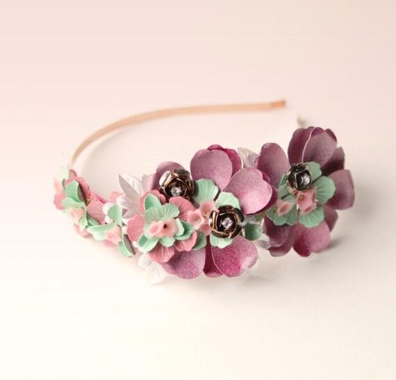 Metal flower headband, floral headpiece, Bridal hair, Vintage flower findings, Pink flower bridal accessory, Unique headpiece, Mint green