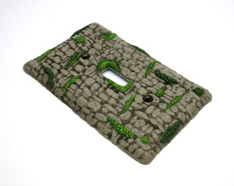 Switch Plate, Stone and Moss, Ancient Ruins, Wall Decor, Functional Art, Nature Art