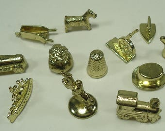 Set Of 12 Goldtone Monopoly Game Pieces From The Deluxe Edition