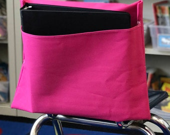 1 PINK Classroom Chair Pockets Seat Sacks Desk Organizer Chair Bag Durable Washable Duck Cloth You Choose the SIZE Chair Pocket Factory