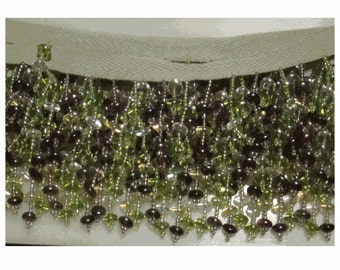 Vintage AMETHYST and PERIDOT Glass BEADED Lampshade Fringe on Cotton Tape