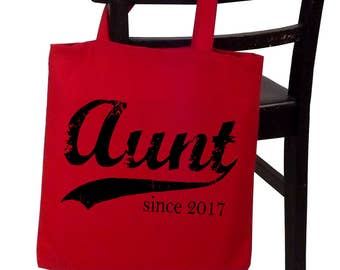 Aunt since ANY year, personalized tote bag, screen print canvas tote, sister-in-law gift, sister gift, Christmas gift
