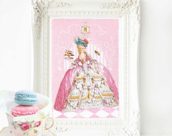 Marie Antoinette, pink, French patisserie, vintage home decor, art print, A4 giclee