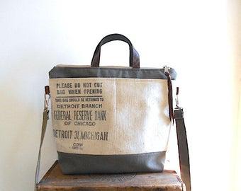 Military canvas & bank bag tote, crossbody bag, satchel - Federal Reserve Chicago, Detroit - eco vintage fabrics