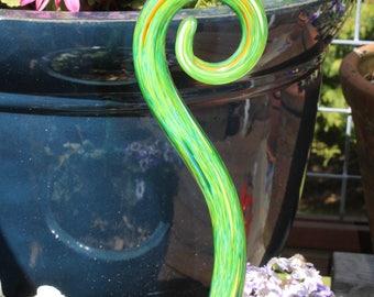 Spring Green Glass Fiddlehead Garden Art Sculpture Outdoor Decoration
