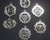 7 Ornate Chakra Pendants Silver Tone 34mm