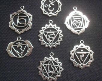 7 Ornate Chakra Pendants Silver Tone 34mm