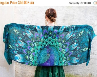 SALE Peacock Scarf, Blue Silk Scarf, Feather Scarf, Blue Scarf, Beach Bridesmaid Scarf, Silk Wrap, Wings Shawl, Silk Shawl, Peacock Wedding