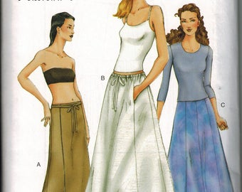 Vogue 7280 Sewing Pattern Sizes 8-10-12 A Line Long Maxi Skirt Wrap Skirt