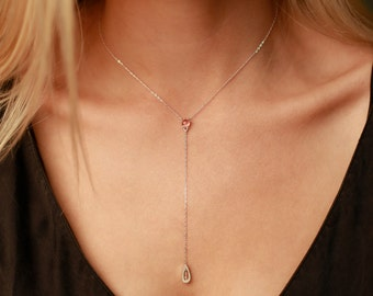 Silver Sunstone Drop Necklace | Silver and Sunstone Necklace