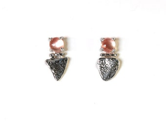 Stone Shield Studs with Sunstone   Silver Earrings with Sunstone