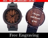 SALE Wooden Watch, Engraved Watch, Wood Watch, Engraved Wood Watch, Dark Wood, Personalized Gift, Christmas, Gifts For Him