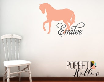 Girls Equestrian Bedroom Wall Decal with Name - Vinyl Custom Children's Horse with Name Wall Art - Cowgirl Bedroom Nursery - CM119