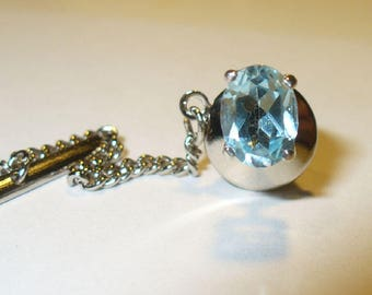 Genuine Blue Topaz Tie Tack or Lapel Pin in Sterling Silver