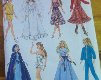 "Simplicity 8333 wardrobe for 11""-12"" Barbie  type doll sewing pattern"