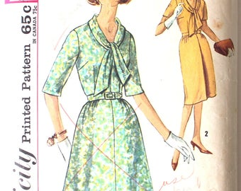 Dress with Tie Collar and 2 Skirts Bust 37 Simplicity 4911 Vintage Sewing Pattern