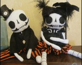 RESERVED 4 MHOWELL8100 Halloween Skeleton dolls Whimsical Goth Spooky Creepy cute country home decor Quirky Primitive doll hafair ofgteam