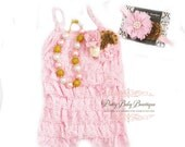 Baby Girl Cake Smash Birthday Outfit Pink and Gold Lace Romper Headband SET, Toddler Outfit, Romper Set, 1st Birthday Photos, Little Girl