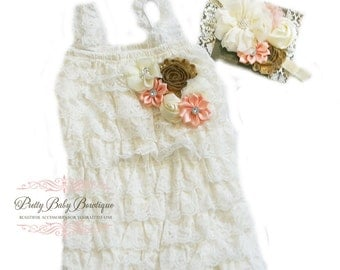 Baby Lace Romper Ivory Peach and Gold Headband SET,  Petti Romper And Baby Headband, Baby Outfit, Baby Christening Blessing Outfit