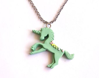 Pastel Unicorn Necklace, Mint Green Rainbow Unicorn Pendant, Kawaii Jewelry