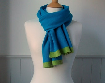 Teal Blue Knitted Cashmere Scarf with Green Trim - soft, cosy, uk