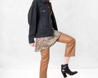 OVERSIZE black DENIM JACKET 90s vintage Jean women Boxer America / Medium / coats