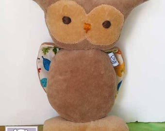 """Owl 7"""" Stuffed Animal, All Natural Materials,  Leaves"""