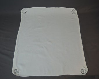 Small Tablecloth Linen with Crochet Corners, 33x32 inches, Vintage 1940s handmade table topper