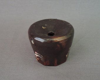 Antique 1800s Pottery Inkwell, Vintage Brown Concave Stoneware Ink with 10 panels, Small 2 inches