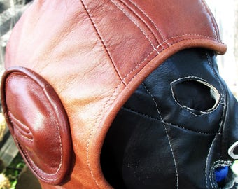 Retro Aviator Hat in Distressed Rust Brown Leather/  Large Size  Suede Lined