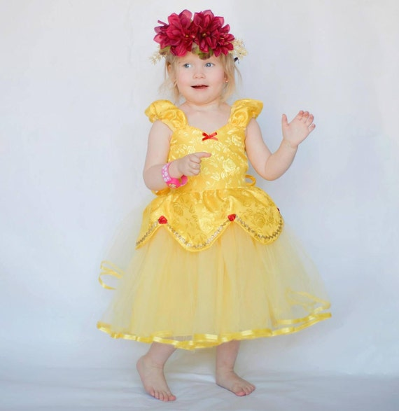BELLE dress, Belle costume, Princess dress, Beauty and the Beast party, yellow dress, girls princess dress, party dress, flower girl dress