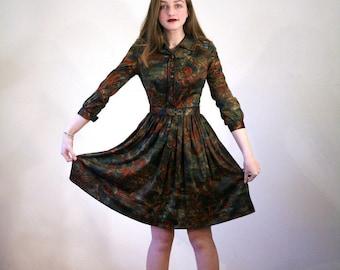 Galina, 60s Shirtwaist, Nylon Jersey Dark Floral Dress, Green & Brown Autumn Print Dress, 1960s Nylon Dress, Vintage Knee Length Dress, S