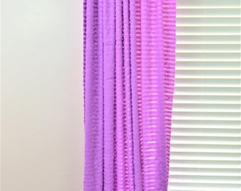 Purple Curtain Panel - 96 inch Curtain Extra Wide Curtain - Window Treatment Curtain Sheer - Lavender Curtain- Ruffled Curtain- Tier Curtain