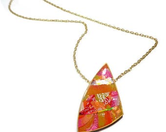 Abstract Statement Necklace, Orange Pink Pendant, Polymer Clay Jewelry, Gifts for Her Birthday Graduation, Summer Outdoors