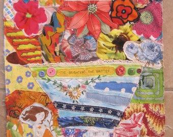 BRIGHT FLOWERS Cottage Garden Folk Art - Fabric Collage Textile Assemblage - Recycled Patchwork Quilt Materials -  myBonny Random Scraps