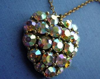 Vintage 60s HEART Pendant AB Rhinestones with Rainbow Iridescent Splendor - Valentine LOVE Necklace