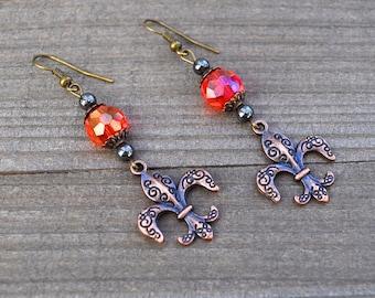 Fleur De Lis Earrings - Fleur De Lis Jewelry - Fleur de lis - New Orleans Fleur De Lis Earrings Red Crystal French NOLA
