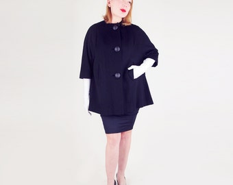 Early 60s Black Wool Flaring Short Coat - Very Jackie!