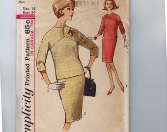 1960s Vintage Sewing Pattern Simplicity 5277 Misses Shift Dress Size 14 Bust 34 1963