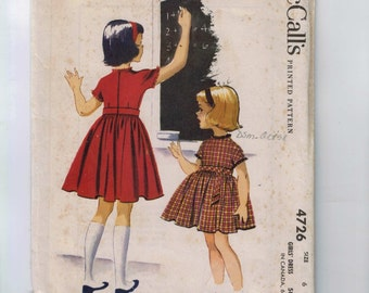 1950s Vintage Girls Sewing Pattern McCalls 4726 Girls Full Skirted School Dress Size 6 Breast 24 50s 1958