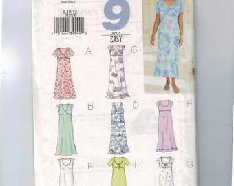 Misses Sewing Pattern Butterick 3377 Misses and Petite Easy High Waisted Dress Size 8 10 12 Bust 31 1/2 32 1/2 34 UNCUT