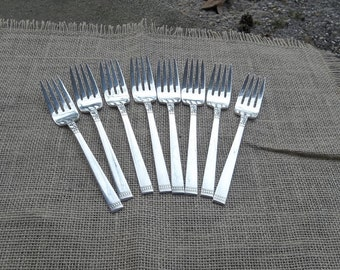 8 Silver Plate Forks FOREVER Dessert Forks Silverplate Flatware Vintage Flatware Wedding Decorations Table Decor Set of 8