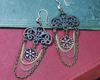 Rustic Oxidized Chandelier Chain and Steel Cut Disc Earrings
