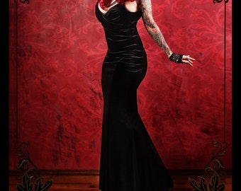 Dress, Long, Mermaid, Black Velvet, Stretch, Formal, Party , Cocktail, Vampire Masquerade, Morticia
