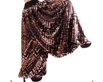 Pantaloons, YOUR SIZE, Sequin, Wide Leg Pants, Bloomers, Rose Copper Gold and Black, Dance, Zig-Zag, Tribal, Bellydance, Cabaret, Fusion