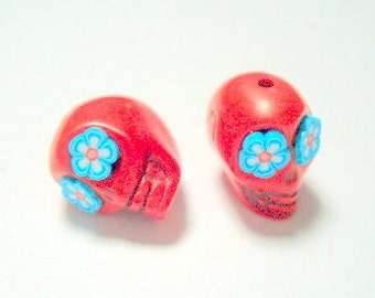 Red and Turquoise Flower Eyes in Day of The Dead Sugar Skull Beads-12mm